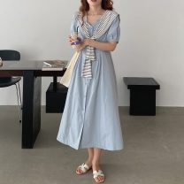 Dress Summer 2021 Picture color Average size Mid length dress Fake two pieces Short sleeve commute V-neck High waist Solid color Single breasted A-line skirt puff sleeve Others 18-24 years old Type A Korean version Splicing 51% (inclusive) - 70% (inclusive)