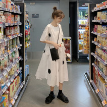 Dress Summer 2021 Black, black dot on white background Average size Mid length dress singleton  Short sleeve commute Crew neck High waist Dot Socket A-line skirt routine Others 18-24 years old Type A Korean version Splicing 51% (inclusive) - 70% (inclusive) other other