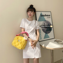 Dress Summer 2020 Gray, white, black Average size Mid length dress singleton  Short sleeve commute Crew neck High waist Solid color Socket A-line skirt routine Others 18-24 years old Type A Korean version zipper 51% (inclusive) - 70% (inclusive) cotton