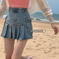 skirt Summer 2021 S,M,L Denim blue, black grey Short skirt Versatile High waist Pleated skirt Solid color Type A 18-24 years old 51% (inclusive) - 70% (inclusive) Denim pocket