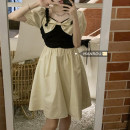 Dress Summer 2021 Black and white color matching S,M,L Mid length dress singleton  Short sleeve commute square neck Socket routine 18-24 years old Korean version 51% (inclusive) - 70% (inclusive)