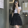 skirt Spring 2021 Average size Black skirt, white skirt, black coat, white coat Short skirt commute High waist A-line skirt Solid color Type A 18-24 years old 51% (inclusive) - 70% (inclusive) Fold, Auricularia auricula Korean version