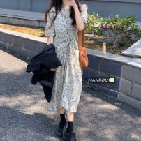 Dress Summer 2021 Graph color Average size Mid length dress singleton  Short sleeve commute Crew neck High waist A-line skirt puff sleeve 18-24 years old Korean version 51% (inclusive) - 70% (inclusive)