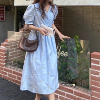 Dress Summer 2021 Light green, white, blue Average size longuette singleton  Short sleeve commute V-neck High waist A-line skirt routine 18-24 years old Embroidery 51% (inclusive) - 70% (inclusive) cotton