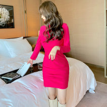 Dress / evening wear Party company annual meeting S M L rose red Simplicity Short skirt High waist Spring 2021 A-line skirt Chest type zipper spandex 26-35 years old L 4547 Long sleeves Solid color nanoampere  routine Pure e-commerce (online only) 51% (inclusive) - 70% (inclusive)