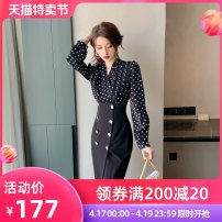 Dress Spring 2021 black S M L Mid length dress singleton  Long sleeves commute V-neck High waist other zipper Pencil skirt puff sleeve Others 25-29 years old Type H nanoampere  Retro STUDDED ZIPPER More than 95% polyester fiber Polyester 100% Pure e-commerce (online only)