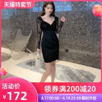 Dress / evening wear Appointment S M L black sexy Middle-skirt High waist Spring 2021 Short buttocks Deep collar V Deep V style 26-35 years old L 4196 other nanoampere  routine Polyester 100% Pure e-commerce (online only)