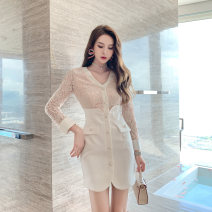 Dress Spring 2021 white S M L Short skirt singleton  Long sleeves commute V-neck High waist Solid color zipper other other Others 25-29 years old nanoampere  Korean version Diamond back lace L 9252 More than 95% polyester fiber Polyester 100% Pure e-commerce (online only)