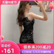 Dress Summer 2021 black S M L Short skirt singleton  Sleeveless commute other High waist other zipper other other camisole 25-29 years old T-type nanoampere  court Backless net More than 95% polyester fiber Polyester 100% Pure e-commerce (online only)