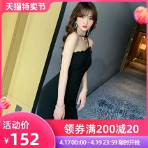 Dress Summer 2020 black S M L Mid length dress singleton  Sleeveless commute other middle-waisted Solid color zipper other other camisole 30-34 years old Type X nanoampere  Retro Bow cut open back L 3831 91% (inclusive) - 95% (inclusive) polyester fiber Pure e-commerce (online only)