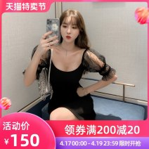Dress Summer 2020 black S M L Middle-skirt singleton  Short sleeve commute square neck High waist Solid color zipper A-line skirt bishop sleeve Others 25-29 years old Type A nanoampere  Korean version Hollow mesh zipper 30% and below nylon Pure e-commerce (online only)