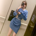 Dress Spring 2021 blue S M L Short skirt singleton  Long sleeves commute V-neck High waist Solid color zipper other routine Others 25-29 years old Type H nanoampere  court Zipper belt L 4488 More than 95% polyester fiber Polyester 100% Pure e-commerce (online only)