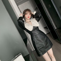 Dress Spring 2021 black S M L Short skirt singleton  Long sleeves commute V-neck High waist Solid color zipper A-line skirt routine Others 25-29 years old Type A nanoampere  court L 4502 More than 95% polyester fiber Polyester 100% Pure e-commerce (online only)