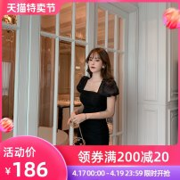 Dress Summer 2021 black S M L XL Short skirt other Short sleeve commute One word collar High waist Solid color zipper other puff sleeve Others 25-29 years old Type A nanoampere  Retro Pleated mesh zipper LL 92010 More than 95% other nylon Pure e-commerce (online only)