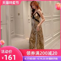 Dress / evening wear Wedding, adulthood party, performance, daily appointment S M L Leopard Print Retro Medium length High waist Summer 2021 A-line skirt Deep collar V Hollowing out 26-35 years old Sleeveless Diamond ornament other nanoampere  other Polyester 100% Pure e-commerce (online only)