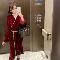 Dress Autumn 2020 claret S M L Mid length dress Two piece set Long sleeves commute V-neck High waist Solid color Socket A-line skirt routine Others 25-29 years old Type A nanoampere  Retro fold L 4487 91% (inclusive) - 95% (inclusive) polyester fiber Pure e-commerce (online only)
