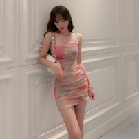 Dress Summer 2021 rainbow S M L Short skirt singleton  Sleeveless commute One word collar High waist Decor Socket other other camisole 25-29 years old Type H nanoampere  Korean version Open back pleated screen printing L 4004 More than 95% nylon Pure e-commerce (online only)