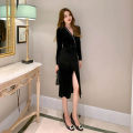 Dress / evening wear Party company annual meeting daily appointment S M L black Retro Medium length High waist Spring 2021 other Deep collar V zipper spandex 26-35 years old L 4668 Long sleeves Solid color nanoampere  routine Polyester fiber 89.5% polyurethane elastic fiber (spandex) 10.5%