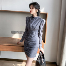 Dress Autumn 2020 grey S M L Short skirt singleton  Long sleeves commute Crew neck High waist stripe zipper One pace skirt routine Others 25-29 years old T-type nanoampere  Korean version Pleated pleated zipper A 3558 More than 95% other polyester fiber Polyester 100% Pure e-commerce (online only)