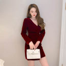 Dress Spring 2021 claret S M L Short skirt singleton  Long sleeves commute V-neck High waist Solid color zipper Irregular skirt routine 25-29 years old Type A nanoampere  Korean version Splicing L 9273 81% (inclusive) - 90% (inclusive) polyester fiber Pure e-commerce (online only)