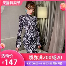 Dress Spring 2021 Black and white S M L Short skirt singleton  Long sleeves commute Crew neck High waist Decor zipper One pace skirt routine Others 25-29 years old nanoampere  lady printing 91% (inclusive) - 95% (inclusive) polyester fiber Polyester 92.5% polyurethane elastic fiber (spandex) 7.5%