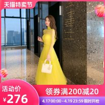 Dress Summer 2021 Fluorescein S M L longuette singleton  Long sleeves commute Pile collar High waist Solid color zipper other routine Breast wrapping 25-29 years old nanoampere  lady Gauze L 4388 More than 95% polyester fiber Polyester 100% Pure e-commerce (online only)