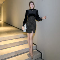Dress Spring 2021 Black gold S M L Short skirt singleton  Long sleeves commute Crew neck High waist other zipper other raglan sleeve Others 25-29 years old Type A nanoampere  Simplicity STUDDED ZIPPER L 4469 91% (inclusive) - 95% (inclusive) polyester fiber Pure e-commerce (online only)