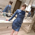 Dress Spring 2021 blue S M L Short skirt singleton  Long sleeves commute stand collar High waist Solid color zipper One pace skirt routine Others 25-29 years old Type H nanoampere  Retro zipper L 4561 91% (inclusive) - 95% (inclusive) polyester fiber Pure e-commerce (online only)
