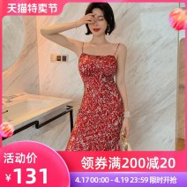 Dress / evening wear S M L gules Retro Medium length High waist Summer 2021 Self cultivation Sling type zipper 26-35 years old Sleeveless flower Decor nanoampere  other Polyester 100% Pure e-commerce (online only) Non handmade flower 96% and above