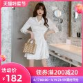Dress Spring 2021 white S M L Short skirt singleton  Long sleeves commute Polo collar High waist Solid color zipper Irregular skirt other Others 25-29 years old Type A nanoampere  fold L 4353 More than 95% polyester fiber Polyester 100% Pure e-commerce (online only)