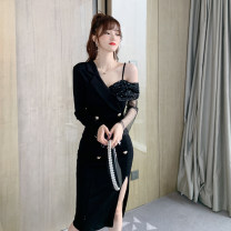 Dress Spring 2021 black S M L Mid length dress singleton  Long sleeves commute other High waist Solid color zipper One pace skirt routine Oblique shoulder 25-29 years old Type H nanoampere  Britain Nail bead sequin gauze L 4317 30% and below nylon Pure e-commerce (online only)