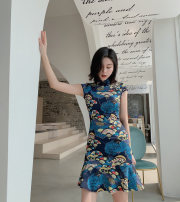 cheongsam Summer 2021 S M L Cheongsam with pattern Short sleeve Short cheongsam Retro No slits daily Oblique lapel Decor 25-35 years old Piping nanoampere  polyester fiber Polyester 100% Pure e-commerce (online only) 91% (inclusive) - 95% (inclusive)