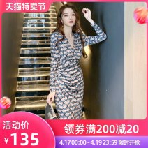 Dress Spring 2021 Decor S M L Mid length dress singleton  Long sleeves commute V-neck High waist Hand painted zipper Pencil skirt routine Others 25-29 years old nanoampere  printing L 4171 51% (inclusive) - 70% (inclusive) nylon Pure e-commerce (online only)