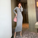 Dress Spring 2021 grey S M L longuette singleton  Long sleeves commute Crew neck High waist Solid color Socket One pace skirt routine Others 25-29 years old Type H nanoampere  Korean version L 4429 51% (inclusive) - 70% (inclusive) cotton Cotton 53.7% polyester 38.2% polyurethane elastane 8.1%