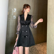 Dress Spring 2021 black S M L Middle-skirt singleton  Long sleeves commute Admiral High waist other double-breasted A-line skirt bishop sleeve Others 25-29 years old Type A nanoampere  Britain Beaded V-neck L 4273 More than 95% polyester fiber Polyester 100% Pure e-commerce (online only)
