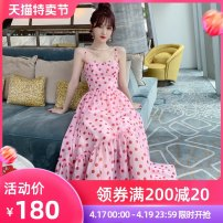 Dress Summer 2021 rose red S M L longuette singleton  Sleeveless Sweet other High waist Decor zipper Big swing other camisole 25-29 years old Type A nanoampere  Open back zipper print More than 95% polyester fiber Polyester 100% Pure e-commerce (online only)