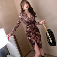 Dress Spring 2021 Leopard Print S M L XL XXL Mid length dress singleton  Long sleeves commute V-neck High waist Decor zipper One pace skirt routine Others 25-29 years old Type H nanoampere  Korean version printing L 4514 91% (inclusive) - 95% (inclusive) polyester fiber Pure e-commerce (online only)