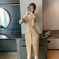 Dress Spring 2021 Lemon yellow S M L Mid length dress singleton  Long sleeves commute V-neck High waist lattice Single breasted other routine Others 25-29 years old Type H nanoampere  Korean version Button 51% (inclusive) - 70% (inclusive) polyester fiber Polyester 70% wool 30%