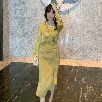 skirt Spring 2021 S M L yellow Mid length dress Versatile Natural waist Pencil skirt Solid color 25-29 years old More than 95% other nanoampere  polyester fiber Bandage Polyester 100% Pure e-commerce (online only)