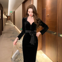 Dress Spring 2021 black S M L Mid length dress singleton  Long sleeves commute other High waist Solid color zipper One pace skirt other Others 25-29 years old Type H nanoampere  Retro Cut out lace up zipper for slim fit L 4421 91% (inclusive) - 95% (inclusive) polyester fiber