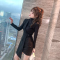 Dress Spring 2021 black S M L XL Middle-skirt singleton  Long sleeves commute High collar High waist Solid color Socket Irregular skirt routine Others 25-29 years old Type A nanoampere  court L 4422 31% (inclusive) - 50% (inclusive) nylon Pure e-commerce (online only)