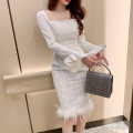Dress / evening wear Wedding party daily appointment S M L white Simplicity Medium length High waist Spring 2021 Self cultivation One shoulder zipper spandex 18-25 years old L 4366 Long sleeves flower Solid color nanoampere  pagoda sleeve Pure e-commerce (online only) Non handmade flower