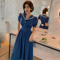 Dress Summer 2020 blue S M L Mid length dress singleton  Short sleeve commute Admiral High waist Solid color Single row two buttons other puff sleeve Others 25-29 years old Type A nanoampere  Ol style Nail bead L 3918 More than 95% polyester fiber Polyester 100% Pure e-commerce (online only)