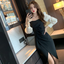 Dress Spring 2021 Black Khaki S M L XL XXL Mid length dress singleton  Long sleeves commute square neck High waist Solid color zipper other bishop sleeve Others 25-29 years old Type H nanoampere  Retro Pleated zipper for slim fit L 4478 More than 95% polyester fiber Polyester 100%