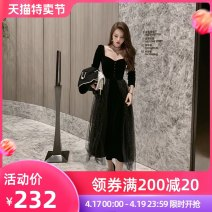 Dress Spring 2021 black S M L XL longuette singleton  Long sleeves commute square neck High waist Solid color zipper A-line skirt routine Breast wrapping 25-29 years old Type A nanoampere  Korean version Hollow out epaulets with diamond mesh L 4192 91% (inclusive) - 95% (inclusive) polyester fiber