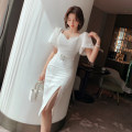 Dress / evening wear Party date S M L white sexy Medium length High waist Summer 2021 other Chest type Hollowing out 26-35 years old L 4234 Long sleeves Solid color nanoampere  puff sleeve Polyester 100% Pure e-commerce (online only) 96% and above