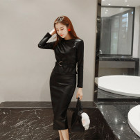 Dress Spring 2021 black S M L XL Middle-skirt singleton  Long sleeves commute Crew neck High waist zipper routine Others 25-29 years old Type H nanoampere  Retro L 1449 More than 95% other polyester fiber Polyester 100% Pure e-commerce (online only)