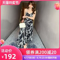 Dress Summer 2020 black S M L Mid length dress Two piece set Sleeveless commute V-neck Elastic waist stripe zipper other other camisole 25-29 years old nanoampere  Korean version Open back printing L 3830 More than 95% polyester fiber Polyester 100% Pure e-commerce (online only)