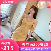 Dress Summer 2021 yellow S M L Short skirt Fake two pieces elbow sleeve commute stand collar High waist Solid color zipper A-line skirt routine Breast wrapping 25-29 years old Type A nanoampere  Korean version L 4093 71% (inclusive) - 80% (inclusive) other cotton Cotton 80% polyester 20%