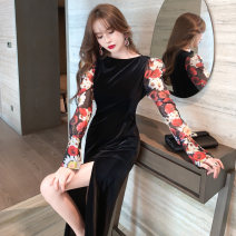 Dress / evening wear Annual meeting of wedding company S M L black Intellectuality longuette High waist Spring 2021 Fall to the ground One shoulder zipper spandex 26-35 years old L 4497 Long sleeves flower Decor nanoampere  routine Polyester fiber 89.5% polyurethane elastic fiber (spandex) 10.5%